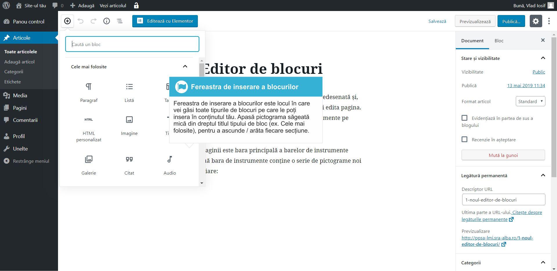 Cum inserezi un bloc in articol WordPress